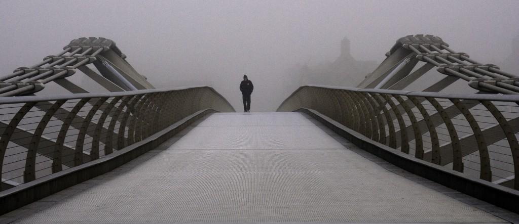 Millennium bridge in the fog