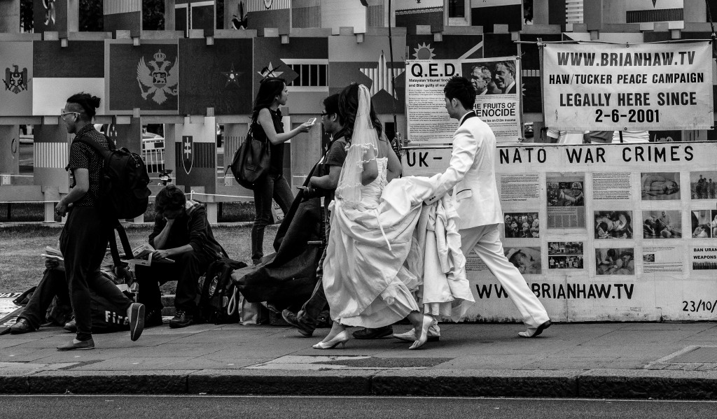 Wedding and war crimes, Parliament Square, London