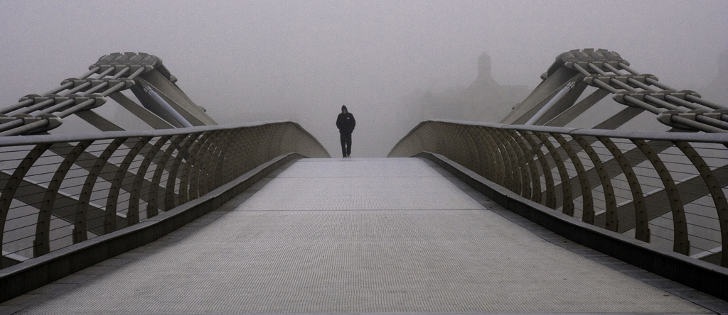 Millennium Bridge in the fog